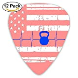12-Pack Custom Guitar Picks Thin Heartbeat Kettlebell Flag Assorted Various Thickness Plectrum for Acoustic