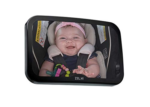 Baby car Mirror for Back seat - View Infant in Rear Facing Car Seat - Best Newborn Safety with Secure Headrest Double-Strap - with Wide Crystal Clear View, Shatterproof.