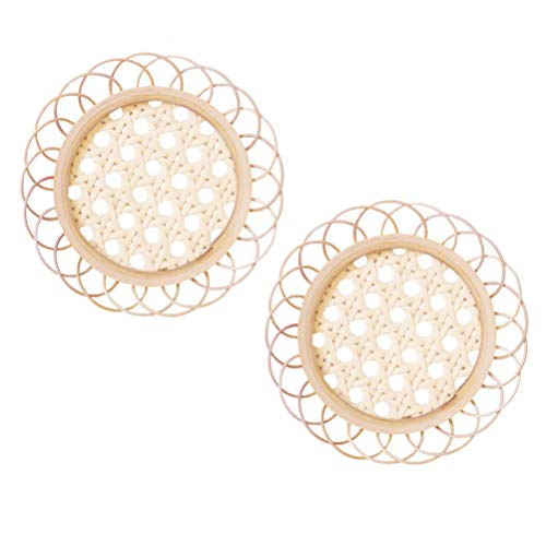 PRETYZOOM 2Pcs Rattan Drink Coasters Round Bamboo Coaster Rattan Cup Mat Round Placemat Coaster Retro Flower Shaped for Coffee Tea Cup Holder Home Decor