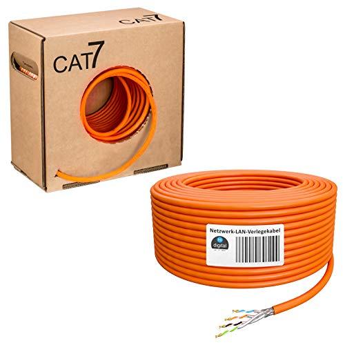 hb-digital 100m Cat.7 Netzwerkkabel Verlegekabel Installationskabel Datenkabel Ethernet LAN Kabel verlegen für Steckdosen & Patschpanels Kupfer S/FTP PIMF LSZH Halogenfrei RoHS-Compliant AWG 23/1