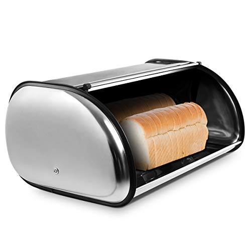 GOPLUS Rollbrotkasten Brot Box Brotkasten Brotbehälter Brotaufbewahrung Edelstahl