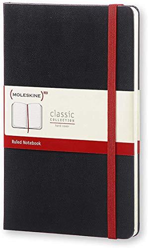 Moleskine - Cuaderno clásico con páginas rayadas, tapa dura y goma elástica, tamaño grande 13 x 21 cm, 240 páginas, color negro