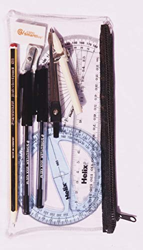 Clear Zipped Maths Pencil Case, Exam Set, Two Black pens, HB Pencil, 180 and 360 Degrees Protractor, Compass with Small Pencil, Metal Pencil Sharpener, Erasure