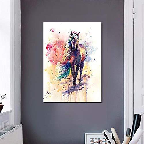QianLei aquarel paard galoppend schilderij slaapkamer woonkamer nachtkastje decoratie schilderij doek tuindecoratie 60x90cm no Frame