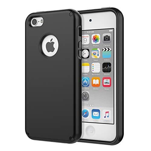 MoKo Funda para iPhone SE, iPhone 5, iPhone 5S, absorción de Impactos, TPU Ultra Delgada, Carcasa Protectora con Tapa Trasera rígida para Apple iPhone SE, 5S y 5, Color Negro
