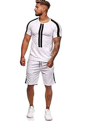 YDYL-LI Männer Sportbekleidung Sportanzug Sportkleidung Laufen Set Jogging Sport Wear Trainingskleidung für Männer Outdoor Fußball Trainingssets,A,XXXL