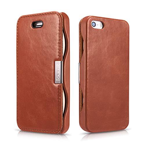ICARER Luxus Tasche für Apple iPhone SE , iPhone 5S und iPhone 5 / Case Außenseite aus Echt-Leder / Schutz-Hülle seitlich aufklappbar / ultra-slim Cover / Vintage Look / Dunkel-Braun
