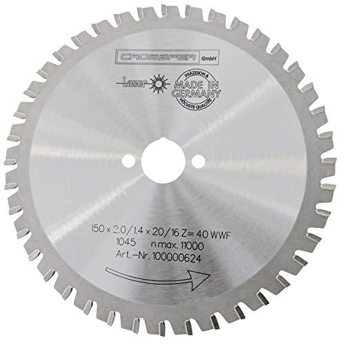 CROSSFER HM Kreissägeblatt 150 x 20 mm Z40 Multifunktionssägeblatt für Metall Kunststoff Spanplatten Laminat Hartmetall bestückt für Kreissägen