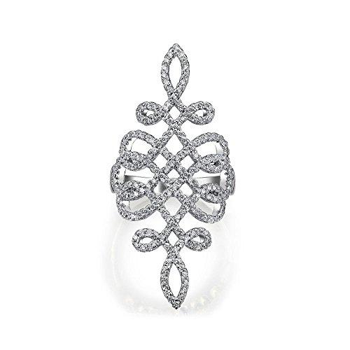 Boho Cubic Zirkonia Pflaster Cz Volle Finger Rüstung Aussage Wirbel Unendlichkeit Ring Für Frauen Für Teen 925 Sterling Silber