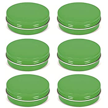 MANSHU 2 OZ Aluminum Tin Jars Cosmetic Containers Round Tin Cans with Screw Cap Lid for DIY Crafts Cosmetics Candle Travel Storage 12 Pack Green.