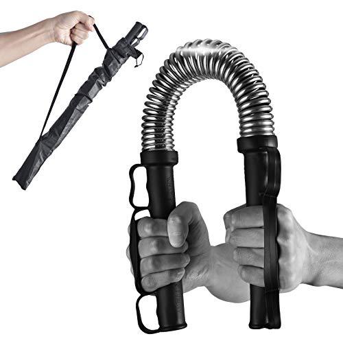 Depmog Barre Twister réglable, Barre Twister d'exercice à Double Ressort Hydraulique, 10-200 kg, Entraînement de la Poitrine et des Bras Muscle Pectoral (Noir)