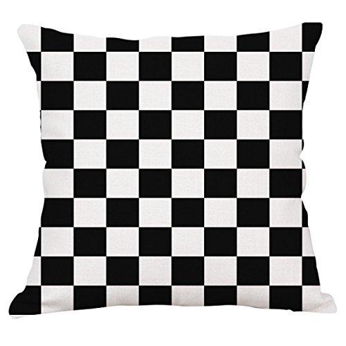 Gewoon zwart en wit geometrie kussenslopen linnen auto sofa kantoor woonkamer decoratie kussen (kussenslopen set met 2 stuks)