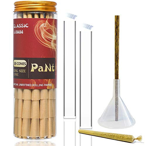 PaNt | 100 Pack | 110mm Cones Classic King Size with Funnel Cone Loader and Poking Tool | Natural Pre Rolled Cones Rolling Papers with Tips & Packing Sticks Included