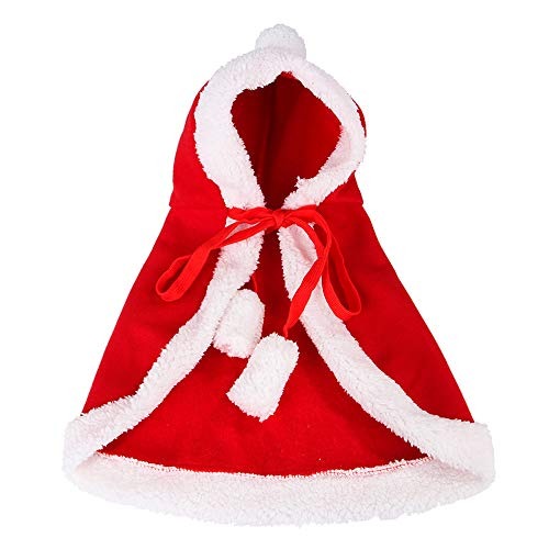 DAYOLY Huisdier Kerst Cape Rood Poncho Cape met Hoed Kerstman Mantel Kat Hond Kostuums Warm Cape voor Vakantie Outfit Dress Up Party Halloween Accessoire, S, Christmas Cloak + Antlers