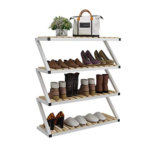XUSHEN-HU Estante de madera para zapatos, estante de 4 niveles, estante de hierro para zapatos, organizador de 80 x 26 x 87 cm, espacio Savng (color: A)