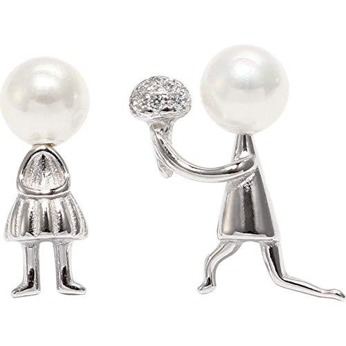 Pendientes de perlas asimétricas de plata de ley 925 dulce romántico de dibujos animados carácter matrimonio propuesta pendientes Olivialulu