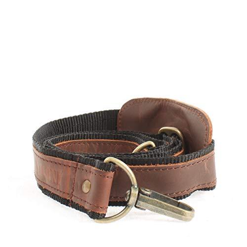 LECONI Trageriemen Leder Nylon Schulterriemen breiter Schultergurt für Taschen Umhängegurt längenverstellbar 4x150cm braun schwarz LEC-R2