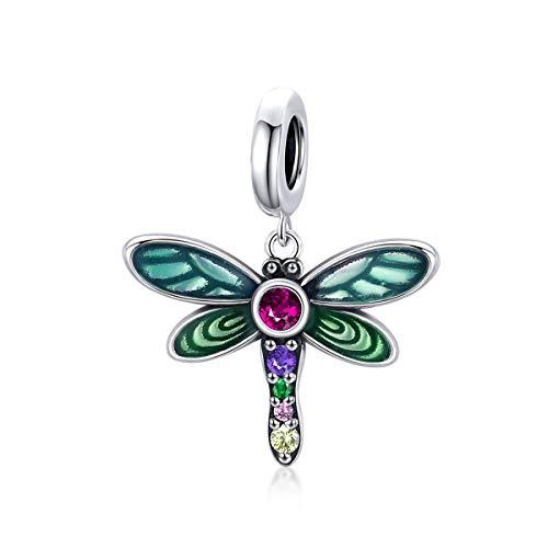 ZiNuo - Ciondolo in argento Sterling 925 con piume colorate a forma di uccello, per braccialetti e collane Pandora e Argento, colore: Ciondoli libellula, cod. BS-298