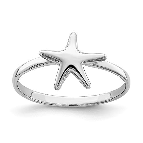 925 Sterling Silver Starfish Band Ring Size 8.00 Sea Shell Life Fine Jewelry For Women Gifts For Her