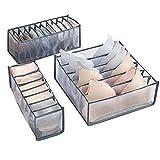Xnuoyo Organizador de Cajones de Ropa Interior, Caja De Almacenamiento De Ropa Interior Plegable, Caja de Almacenamiento Para Sujetadores, Calcetines, Ropa Interior (3 Paquetes, Gris)