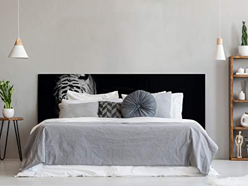 Cabecero Cama PVC Impresión Digital Cabeza de Tigre Blanco y Negro 150 x 60 cm | Disponible en Varias Medidas | Cabecero Ligero, Elegante, Resistente y Económico