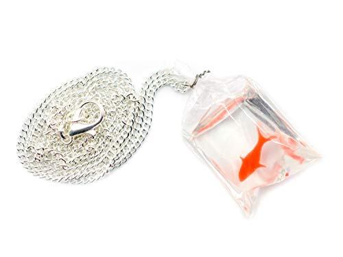 Miniblings Goldfischtüte Kette 45cm Halskette Aquarium Goldfisch Tüte Fisch Koi - Handmade Modeschmuck - Gliederkette versilbert