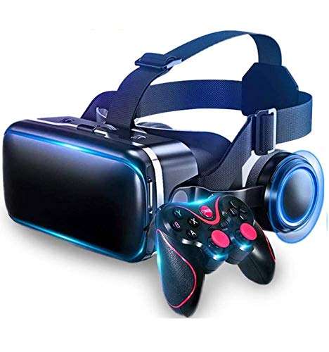 RENXR HD VR Headset- New 3D VR Glasses Soft & Comfortable Universal Virtual Reality Goggles Mobile Games 360 Movies W/Eye Protection, Gamepad