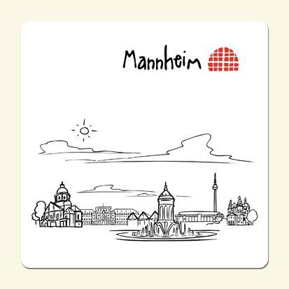 die stadtmeister Untersetzer Skyline Mannheim (weiß) - als Geschenk für echte Monnemer & Mannheim-Fans oder als Mannheim Souvenir