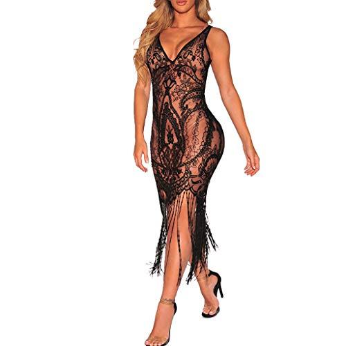 Oksea Fransenkleid 20er Jahre Kleid V Ausschnitt Perspektive Spitze Blume Mesh sexy schlanke Quaste Kleid tiefem V Ausschnitt sexy Perspektive Kleid sexy Nachtclub Spitze Netzkleid