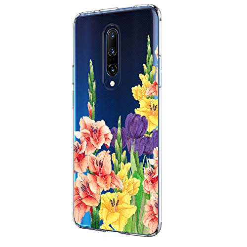 64Gril Compatibel OnePlus 7 Hoes Transparant Soft Silicone Hoes Schokbestendig TPU Hoes voor mobiele telefoon Crystal Clear Bloem Ultradun Beschermhoes Zachte Slimcover Flexibel Marmer Patroon smartphone-tas bumper