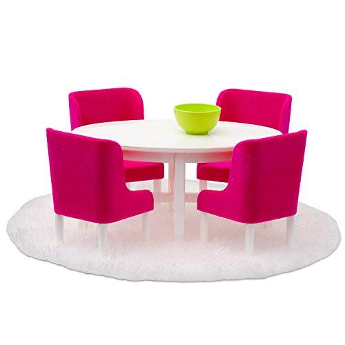 Lundby 60-208000 - Esszimmermöbel Puppenhaus - Möbelset 7-teilig - Puppenhauszubehör - Möbel - Esstisch - Sitzgruppe - Esszimmer - Zubehör - ab 4 Jahre - 11 cm Puppen - Minipuppen 1:18
