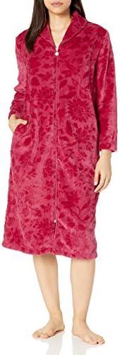 Karen Neuburger Women s Plush Soft Warm Fleece Bathrobe Robe Pajama Pj Floral Crimson X Large product image