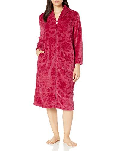 Karen Neuburger Women's Plush Soft Warm Fleece Bathrobe Robe Pajama Pj, Floral Crimson, Small