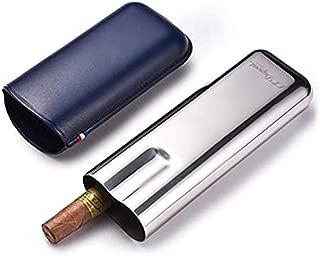 CHOUYANJ Cigar Box Two-Piece Metal Leather Cigar Box Portable Cigarette Case Cigar Tube Cigar Box (Color : Gray)