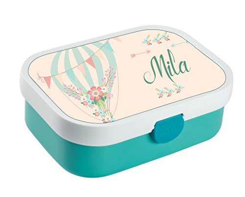 *wolga-kreativ Brotdose Lunchbox Bento Box Kinder Luftballon Blume mit Namen Rosti Mepal Obsteinsatz für Mädchen Jungen personalisiert Brotbüchse Brotdosen Kindergarten Schule*
