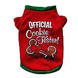Yowablo T-Shirt Nouveau modèle Tricolore vêtements de Chien de Noël en Coton Vert Chiot Costume (S,3Rouge)