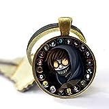 Creepypasta Keychain,Creepy Pasta Ticci Toby Glass Pendant,Bronze Keychain