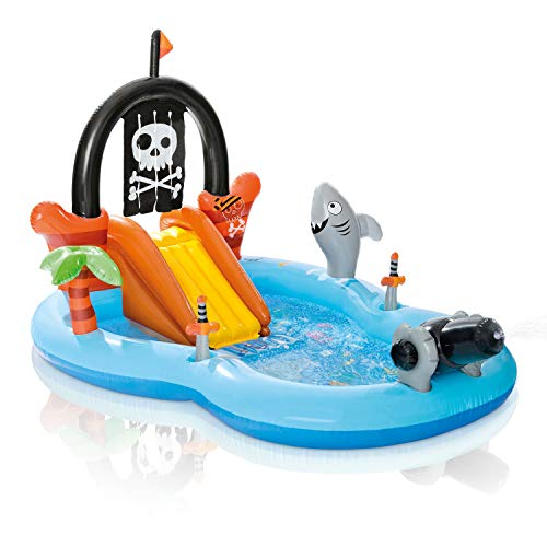 Intex 57168EP Kid Friendly Outside Inflatable Water Pirate Fun Play Toy Center for Kids Ages 2 and Up, 58 Gallon Water Capacity