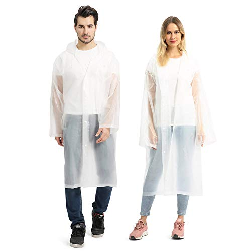 Opret Portable EVA Raincoats for Adults, Reusable Rain Ponchos with Hoods and Sleeves Lightweight Raincoats, 2 Pack, White