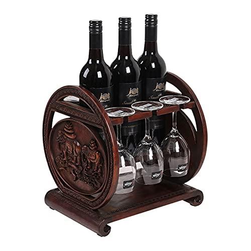 Estante de vino de madera Tenedor de botella de vino independiente gratis Racks de vino de palisandro con 6 soportes de vidrio Tablero de mesa de almacenamiento de vino Rack Rostic Hacks de madera Enc