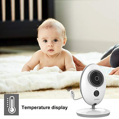 ANNEW Babyphone Baby Monitor mit Kamera Video Audio Temperatursensor Nachtsicht Wiegenlied Zwei-Wege-Gespräch (VB605-EU) - 4