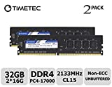 Timetec Hynix IC 32GB Kit (2x16GB) DDR4 2133MHz PC4-17000 Unbuffered Non-ECC 1.2V CL15 2Rx8 Dual Rank 288 Pin UDIMM Pc sobremesa Memoria principal Module Upgrade (32GB Kit (2x16GB))
