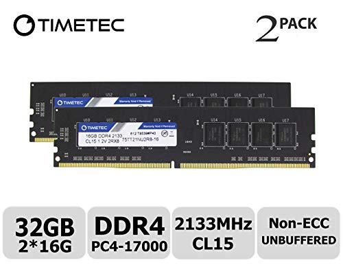 Timetec Hynix IC 32GB Kit (2x16GB) DDR4 2133MHz PC4-17000 Unbuffered Non-ECC 1.2V CL15 2Rx8 Dual Rank 288 Pin UDIMM Desktop Arbeitsspeicher Module Upgrade (32GB Kit (2x16GB))