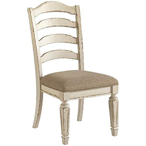 Bowery Hill Ladderback Dining Side Chair in Chipped White