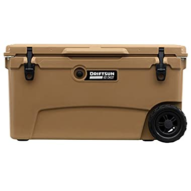 Driftsun 70 Quart Wheeled Ice Chest/Heavy Duty Rolling Cooler/High Performance Commercial Grade Insulation