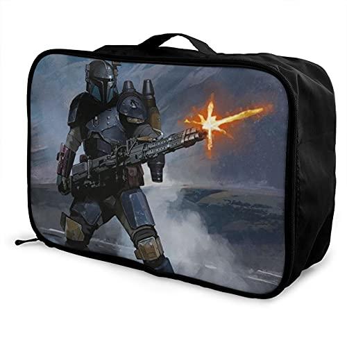 Star Mandalorian Wars - Bolsa de equipaje portátil de gran capacidad, impermeable, ligera, bolsa de almacenamiento