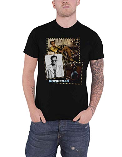 Elton John T Shirt Rocketman Montage Movie Logo Nue offiziell Herren Schwarz