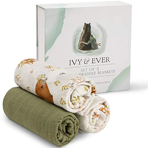 IVY & EVER Organic Cotton Muslin Swaddle Blankets Unisex - Woodland Baby Swaddle Wrap Nursery Receiving Blankets Neutral - Baby Swaddle Blanket 47 x 47 inches Woodland Receiving Blankets 3 Pack