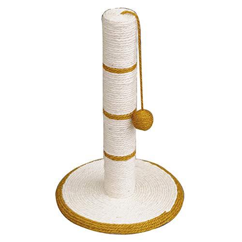 Arquivet Rascador para Gatos de Poste con Bola - Rascadores para Gatos - Arañador para Gatos - Afilador uñas para Gatos - Blanco y Dorado - 30 x 30 x 46 cm