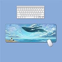 ゲーミングマウスパッドビーチ海の波シロナガスクジラアニメ風景デスクトップノンスリップデスクマットかわいいロッキングエッジライティングパッドオフィスロングテーブルマット-XL
